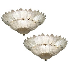 Pair of Italian Murano Glass Leave Flush Mount Chandelier