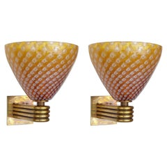 Pair of Italian Murano Glass Sconces w/ Original Mark by Barovier e Toso