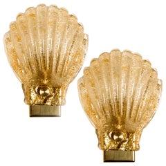 Pair of Italian Murano Glass Sea Shell Sconces, Italy, 1960
