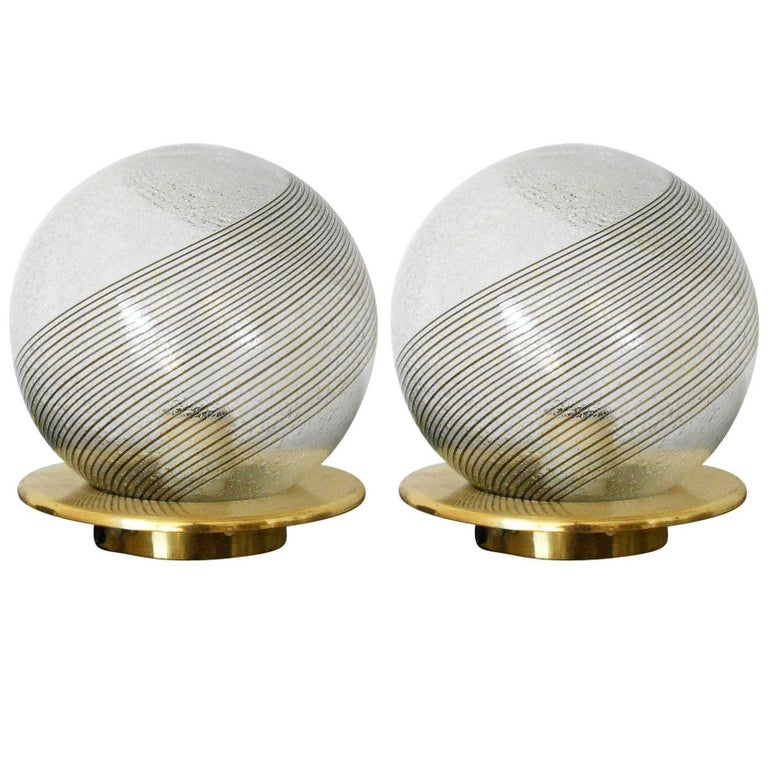 Pair of Italian Murano Glass Table Lamps by Venini