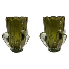 Pair of Italian Murano Glass Vases