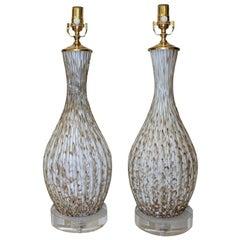 Pair of Italian Murano Glass White Table Lamps with Aventurine
