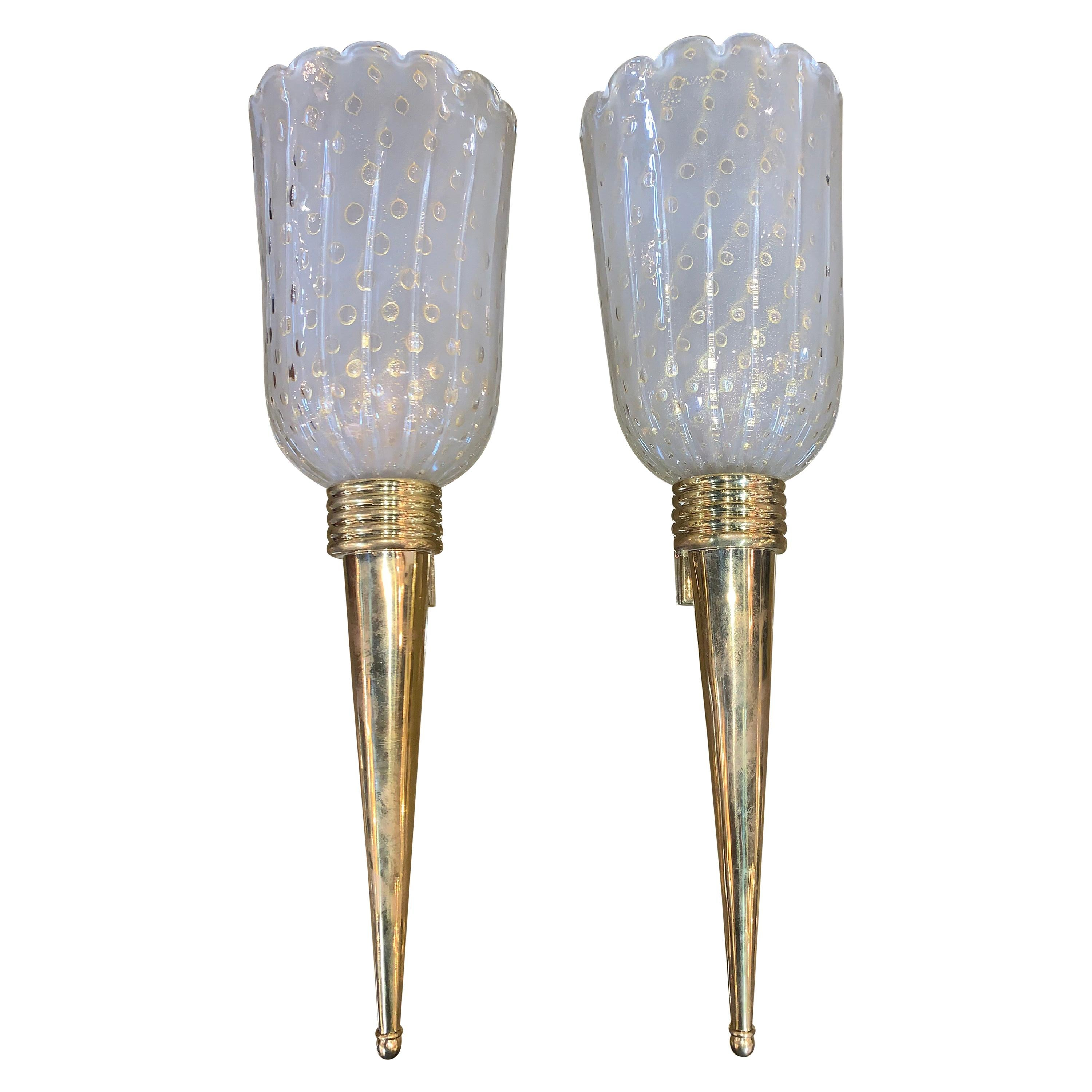 Pair of Italian Murano Midcentury Brass and Glass Sconces