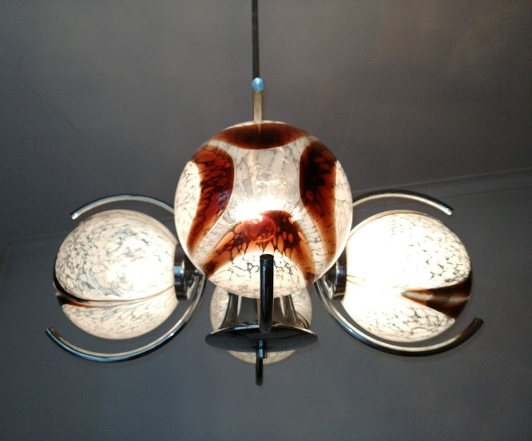 Pair of Italian Murano Nason Mazzega Amber Art Glass Modernist Chrome Chandelier For Sale 5