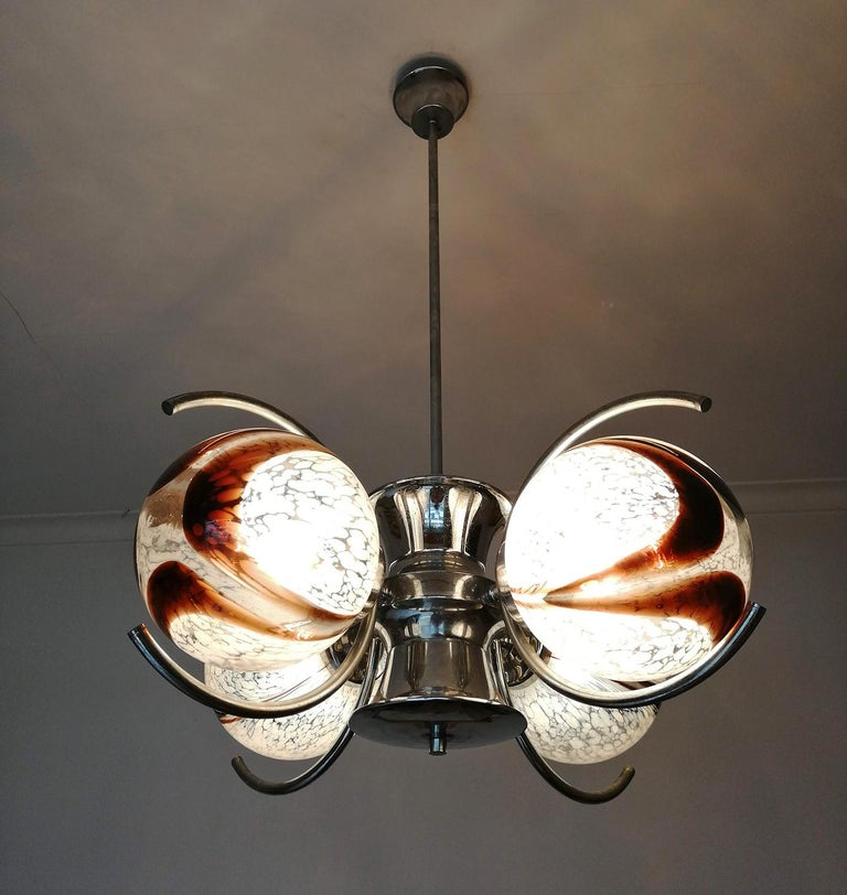 Pair of Italian Murano Nason Mazzega Amber Art Glass Modernist Chrome Chandelier For Sale 6