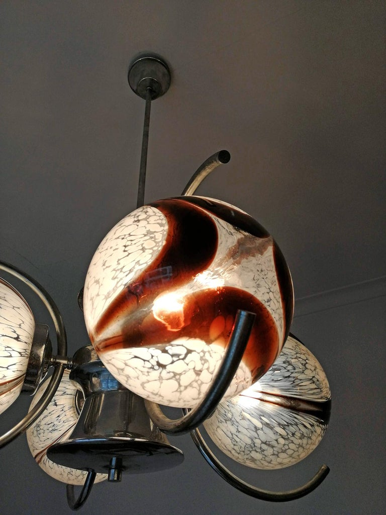Pair of Italian Murano Nason Mazzega Amber Art Glass Modernist Chrome Chandelier For Sale 7