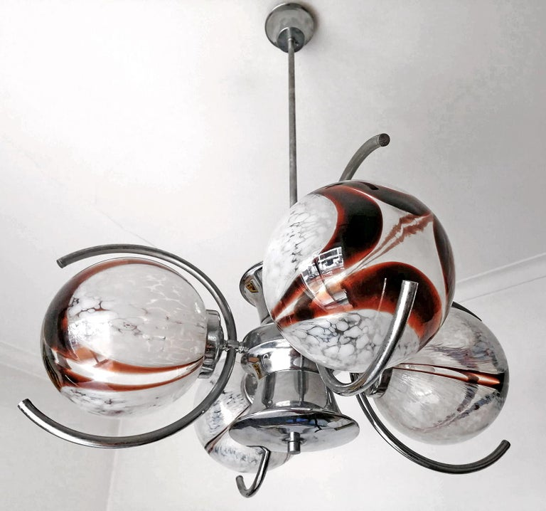 Unusual vintage 1960s Italian modernist Murano blown art glass globes chrome chandelier