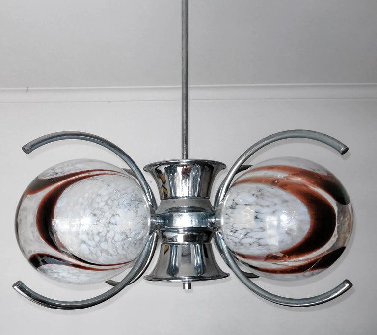 Pair of Italian Murano Nason Mazzega Amber Art Glass Modernist Chrome Chandelier For Sale 3