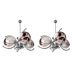 Pair of Italian Murano Nason Mazzega Amber Art Glass Modernist Chrome Chandelier
