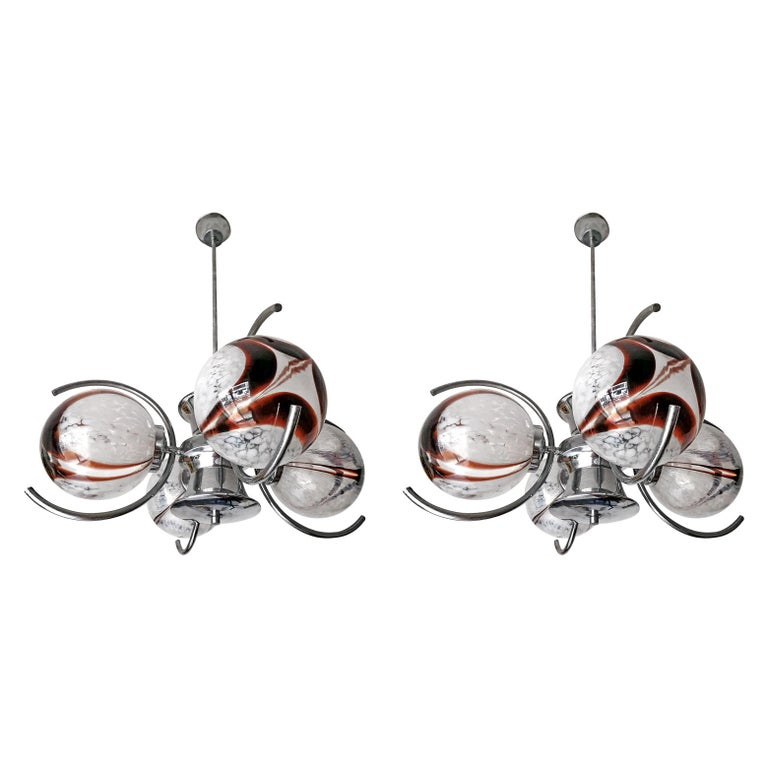 Pair of Italian Murano Nason Mazzega Amber Art Glass Modernist Chrome Chandelier For Sale