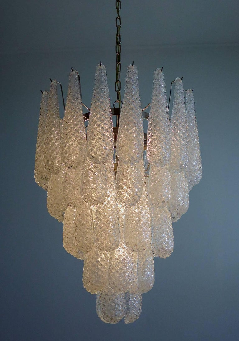 Pair of Italian Murano Petals Chandeliers, Murano In Excellent Condition For Sale In Budapest, HU