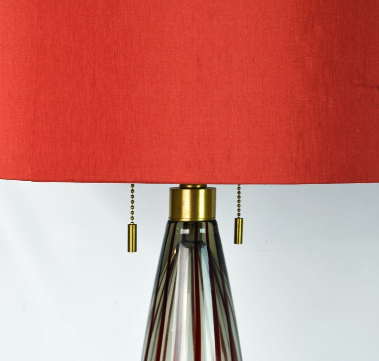 Pair Of Italian Murano Red Striped Glass Lamps With Shades Signed By Donghia