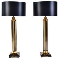 Pair of Italian Murano Smokey Glass 'Column' Lamps