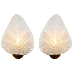 Pair of Italian Murano Textured Leaf Wall Lights