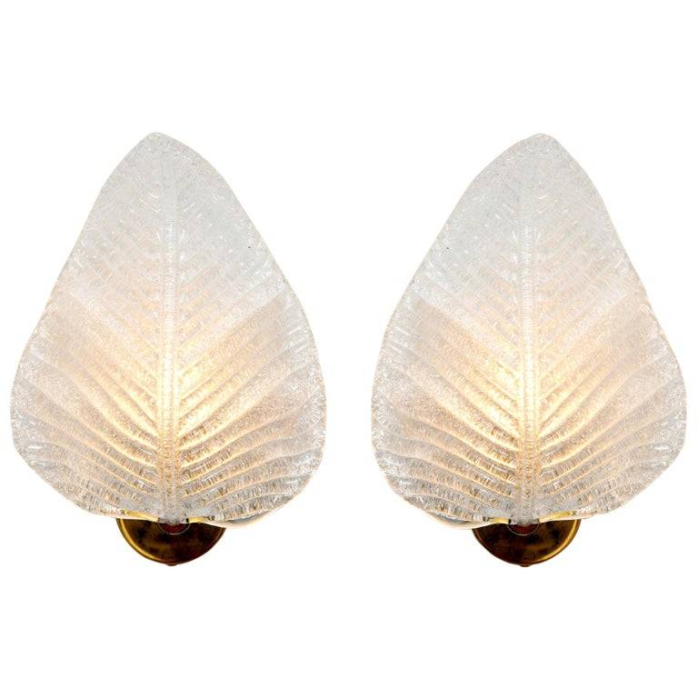 Pair of Italian Murano Textured Leaf Wall Lights For Sale
