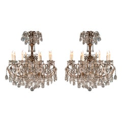 Pair of Italian Napoleon III Period Chandeliers in Glass, Crystal and Metal