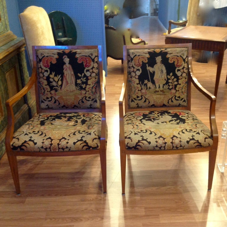 Needlepoint Pair of Italian Neoclassic Armchairs For Sale