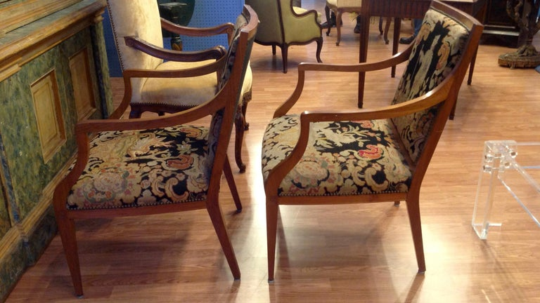 Pair of Italian Neoclassic Armchairs In Good Condition For Sale In West Palm Beach, FL