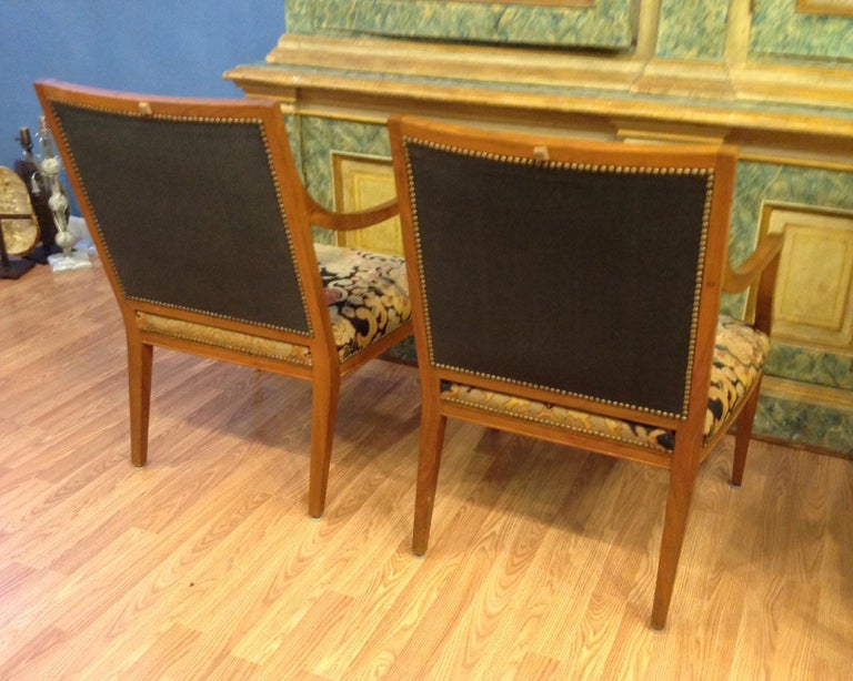 Fruitwood Pair of Italian Neoclassic Armchairs For Sale