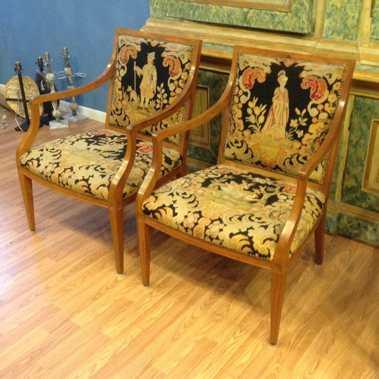 Pair of Italian Neoclassic Armchairs For Sale 1