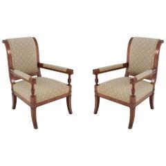 Pair of Italian Neo-classic Style Mahogany Sleigh Back Chairs