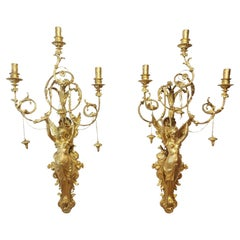 Pair of Italian Neoclassic Empire Gilt Wood Wall Sconces