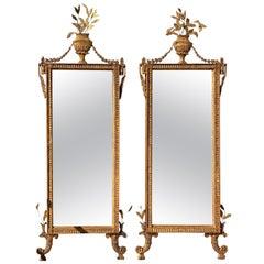 Pair of Italian Neoclassic Giltwood Mirrors