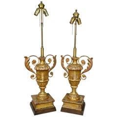 Pair of Italian Neoclassic Giltwood Table Lamps
