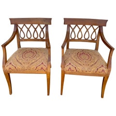 Pair of Italian Neoclassic Olive Wood Armchairs