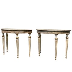 Pair of Italian Neoclassic Style Painted Console Tables