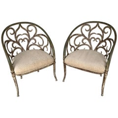 Pair of Italian Neoclassic Verdigris Tole Pierced Armchairs