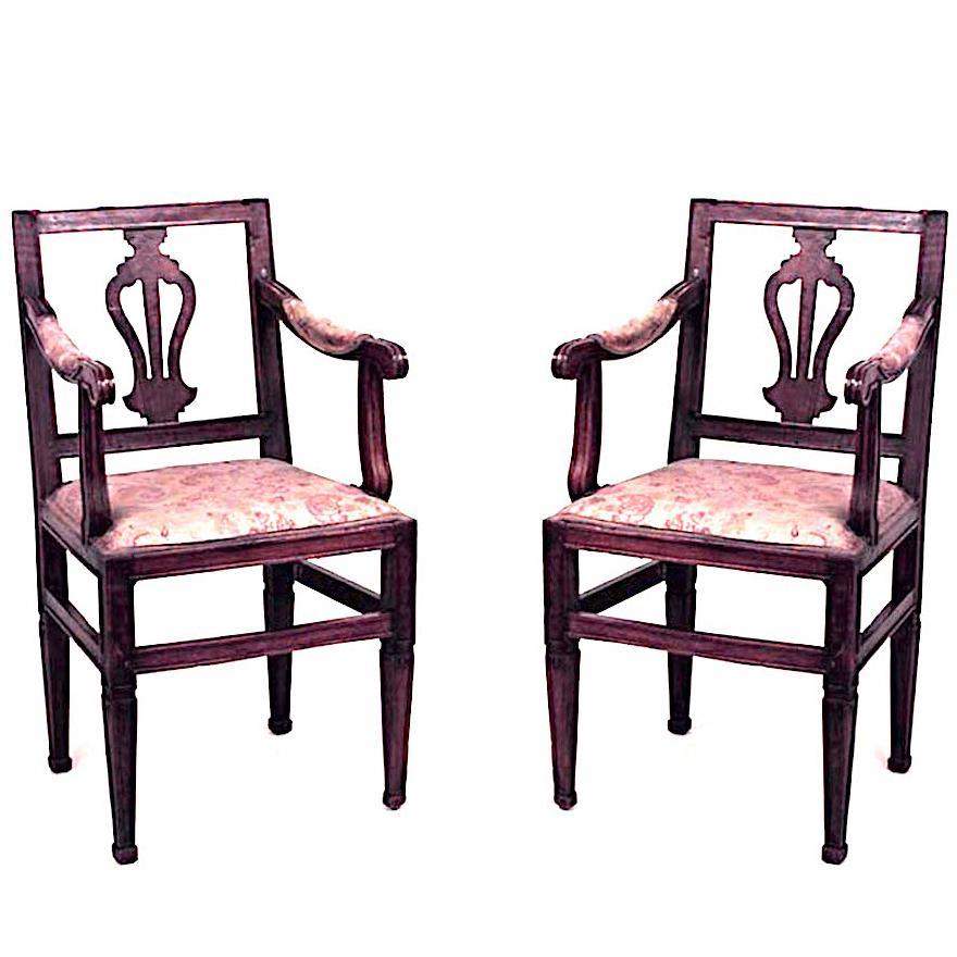 Pair of Italian Neoclassic Walnut Lyre Back Armchairs