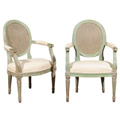 Pair of Italian Neoclassical 1850s Green Painted Armchairs with Cane Oval Backs