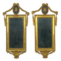 Pair of Italian Neoclassical Antique Giltwood Mirrors Looking Glasses