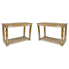 Pair of Italian Neo-Classic Painted Onyx Top Console Tables