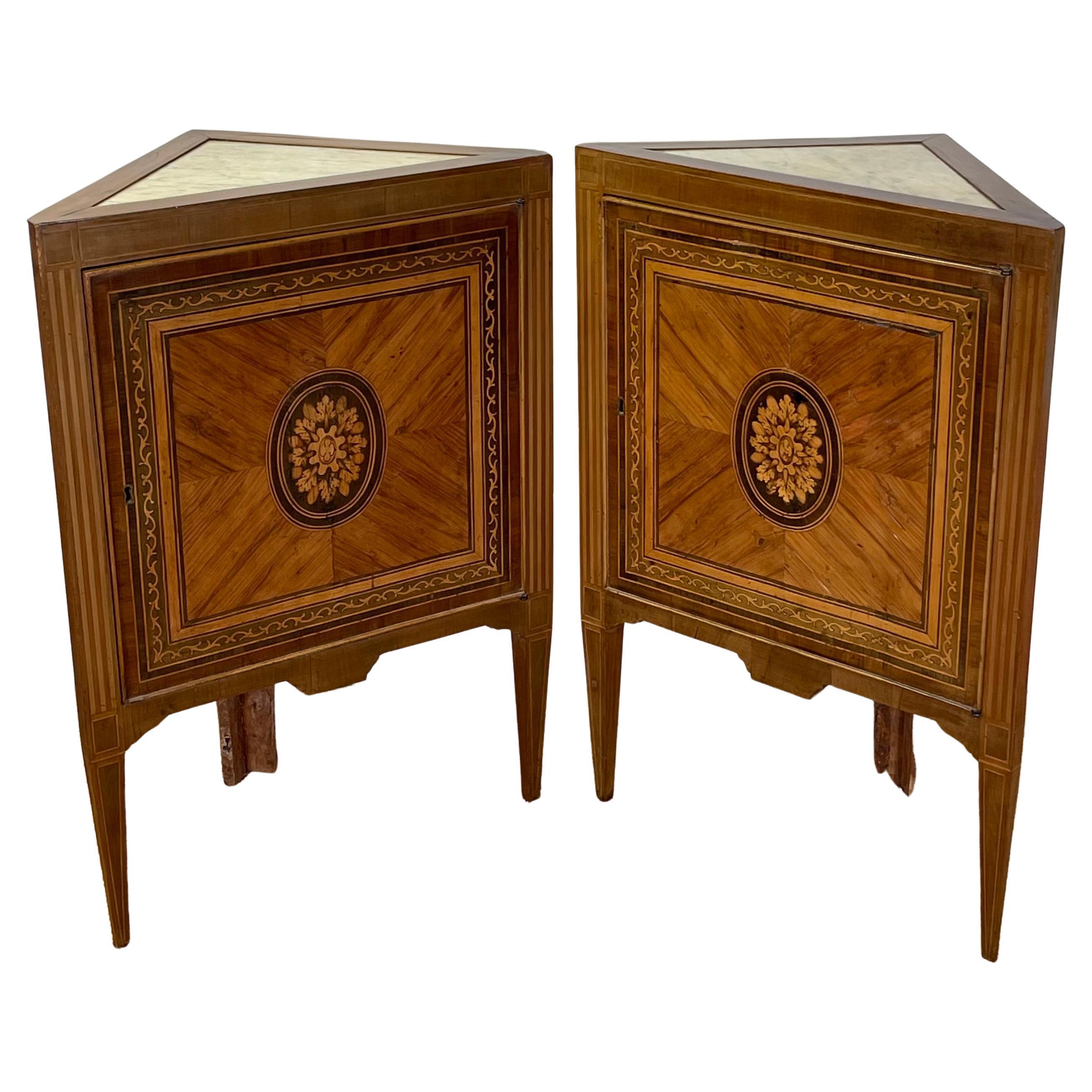 Pair of Italian Neoclassical Corner Cabinets