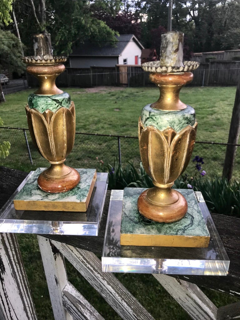 Wood Pair of Italian Neoclassical Faux Marble and Giltwood Candlesticks For Sale