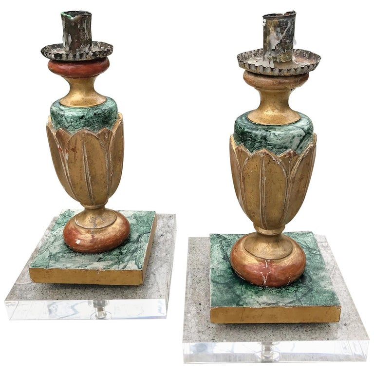 Pair of Italian Neoclassical Faux Marble and Giltwood Candlesticks For Sale