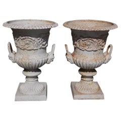 Italian Neoclassical Figural Cast Iron & Painted Campaign Urns, circa 1850, Pair