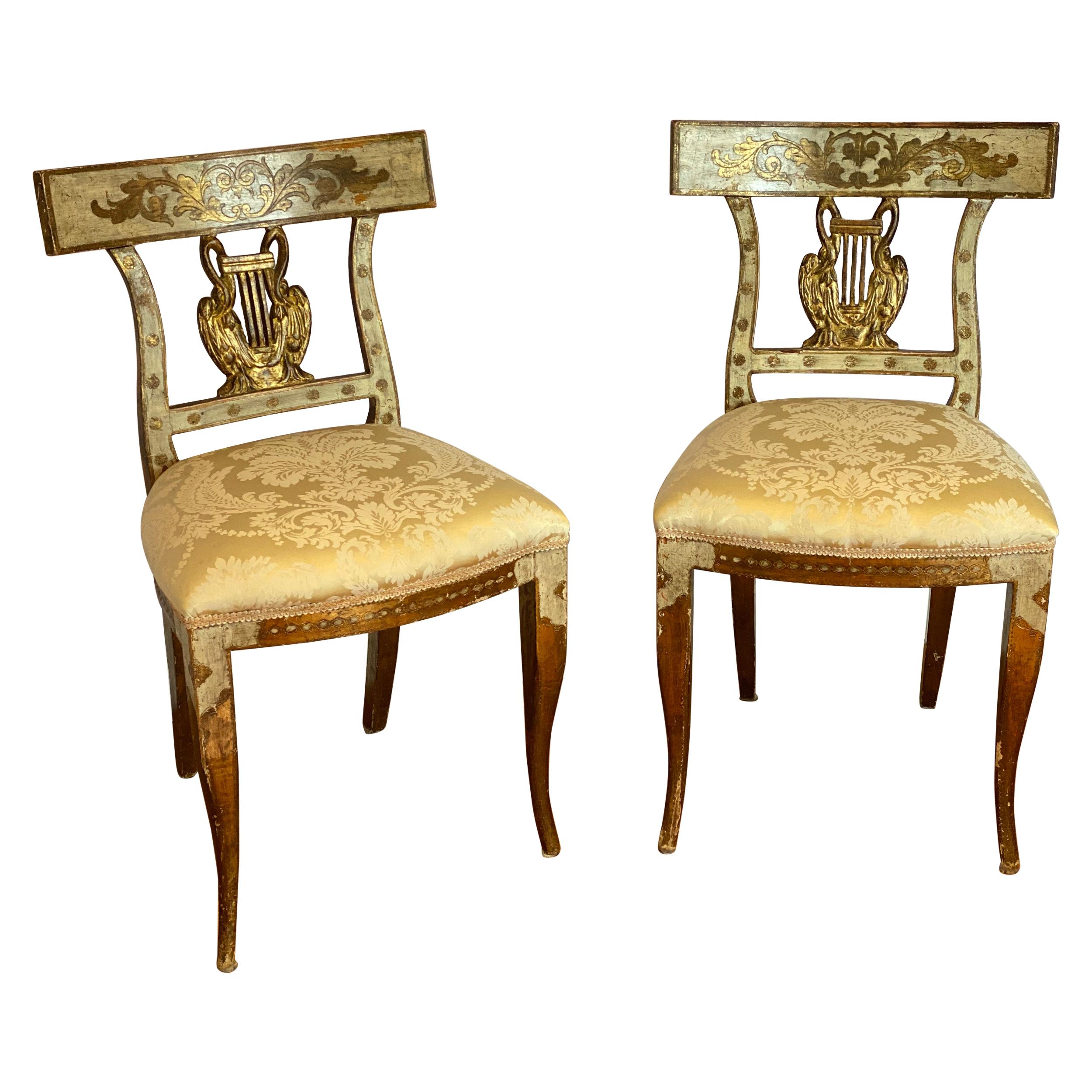 Pair of Italian Neoclassical Gilt-Wood Side Chairs with Swans and Lyres