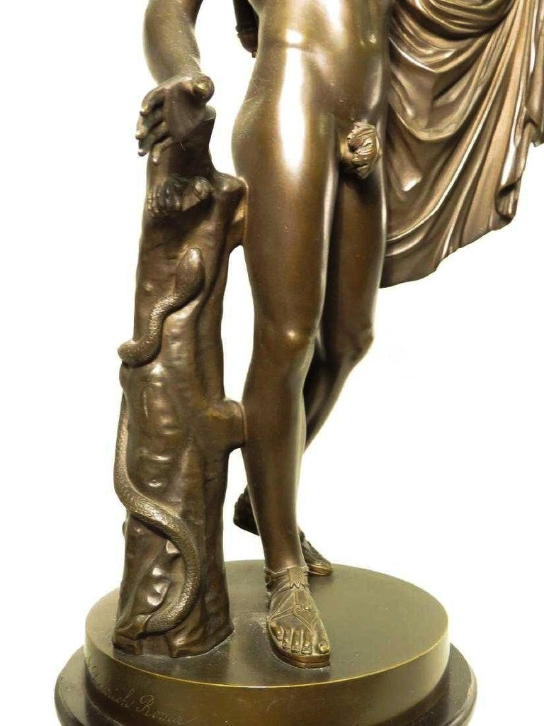 Late 19th Century Pair of Italian Neoclassical Grand Tour Bronze Figures on Marble Bases For Sale