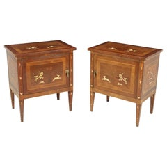 Pair of Italian Neoclassical Inlaid bedside Cabinets