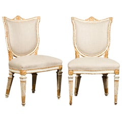 Pair of Italian Neoclassical Painted and Carved Side Chairs with Shield Backs