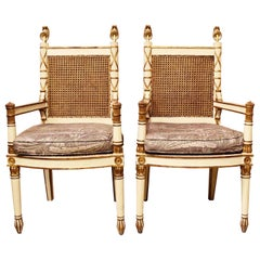 Pair of Italian Neoclassical Painted Armchairs