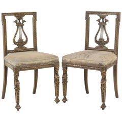 Pair of Italian Neoclassical Painted Side Chairs Great Form and Patina