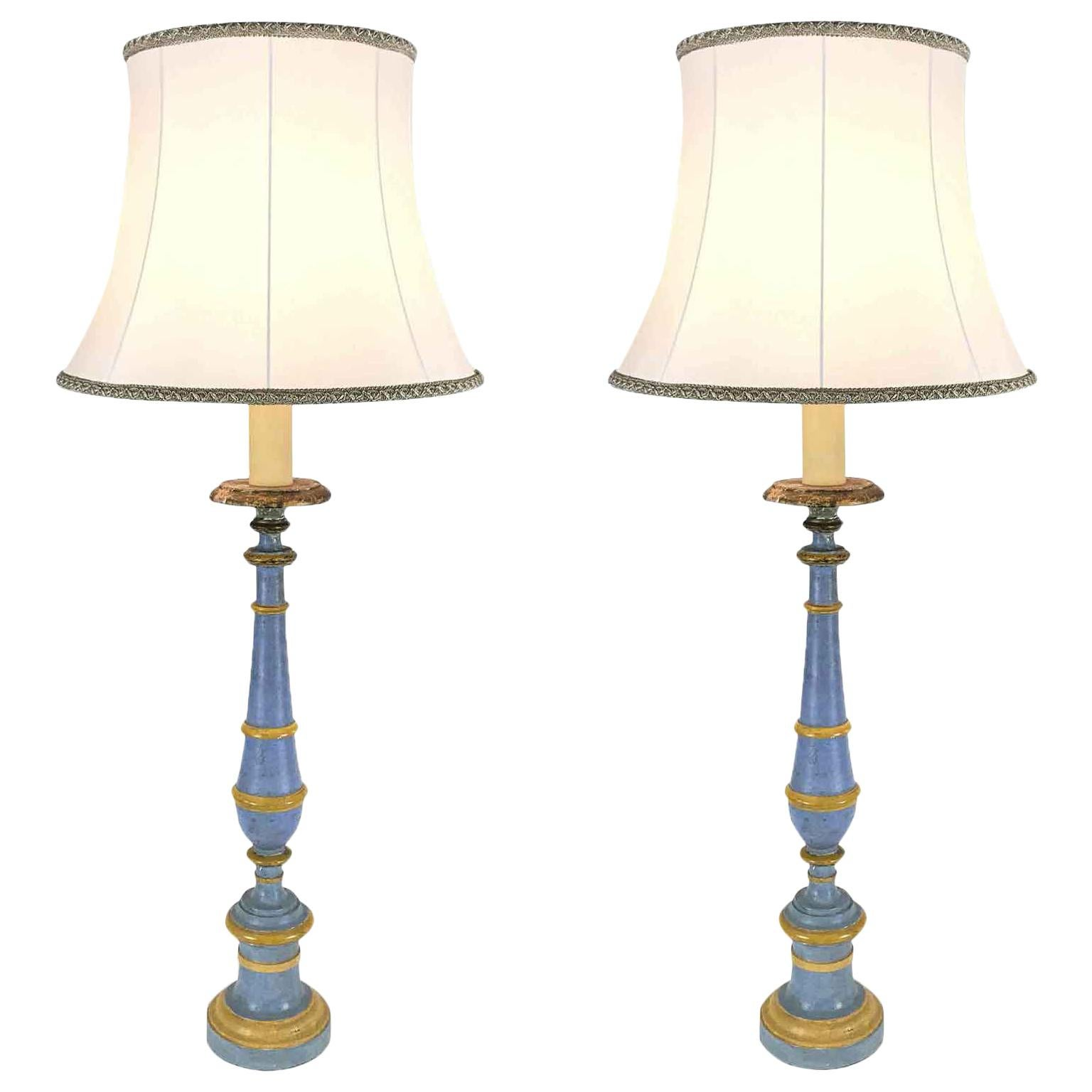 Pair of Italian Neoclassical Prickets Large Blue Candlesticks wired for Lamps