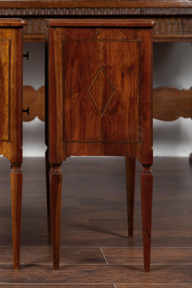 Pair of Italian Neoclassical Style 1840s Walnut Commodes with Banded Inlay For Sale 6
