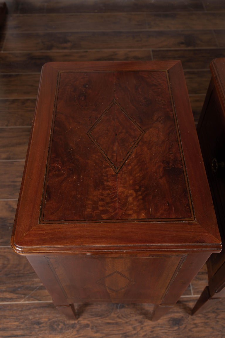 Pair of Italian Neoclassical Style 1840s Walnut Commodes with Banded Inlay For Sale 10