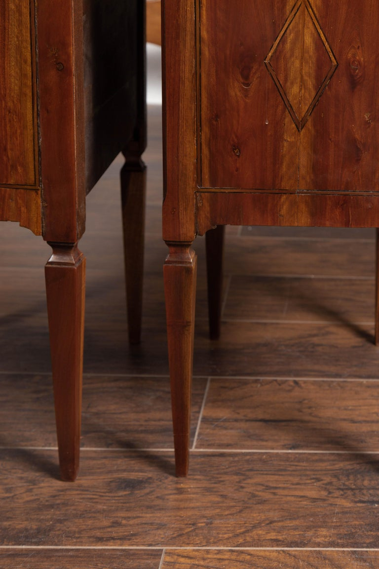 Pair of Italian Neoclassical Style 1840s Walnut Commodes with Banded Inlay For Sale 11