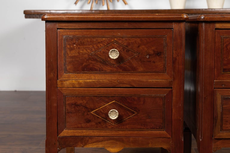 19th Century Pair of Italian Neoclassical Style 1840s Walnut Commodes with Banded Inlay For Sale